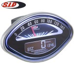 SIP speedometer/tach, black face: Vespa SS, GS, Sprint, etc.