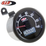 SIP speedometer/tach, black face: Vespa smallframe