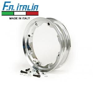 """FA Italia Octopus tubeless wheel rim 2.10-10"""", aluminum- Lambretta, Polished"""