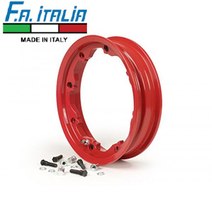 "FA Italia Octopus tubeless wheel rim 2.10-10"", aluminum- Lambretta, Red"