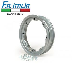 """FA Italia Octopus tubeless wheel rim 2.10-10"""", aluminum- Lambretta, Silver"""