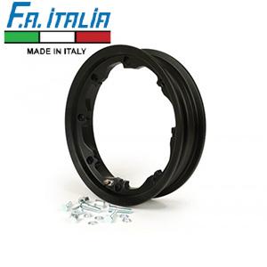 """FA Italia Octopus tubeless wheel rim 2.10-10"""", aluminum- Lambretta, Black"""