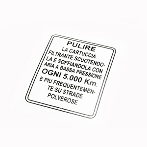 Air filter box maintenance sticker: late series 1, all series 2