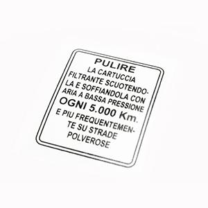 Air filter maintenance sticker: late series 1, all series 2
